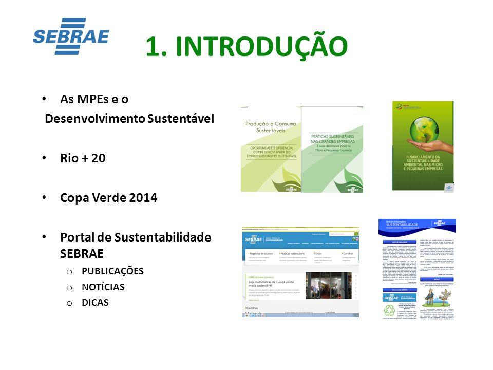 1. INTRODUÇÃO As MPEs e o Desenvolvimento Sustentável Rio + 20 Copa Verde 2014 Portal de Sustentabilidade SEBRAE o PUBLICAÇÕES o NOTÍCIAS o DICAS