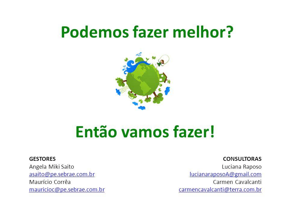 Podemos fazer melhor? Então vamos fazer! CONSULTORAS Luciana Raposo lucianaraposoA@gmail.com Carmen Cavalcanti carmencavalcanti@terra.com.br GESTORES