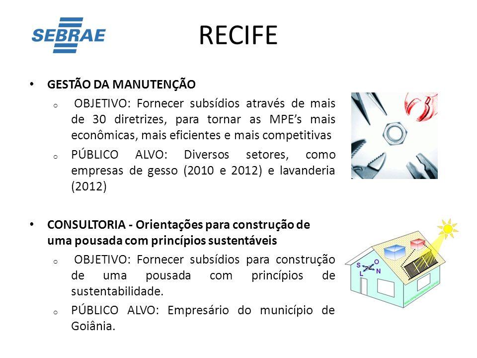 RECIFE GESTÃO DA MANUTENÇÃO o OBJETIVO: Fornecer subsídios através de mais de 30 diretrizes, para tornar as MPE's mais econômicas, mais eficientes e m