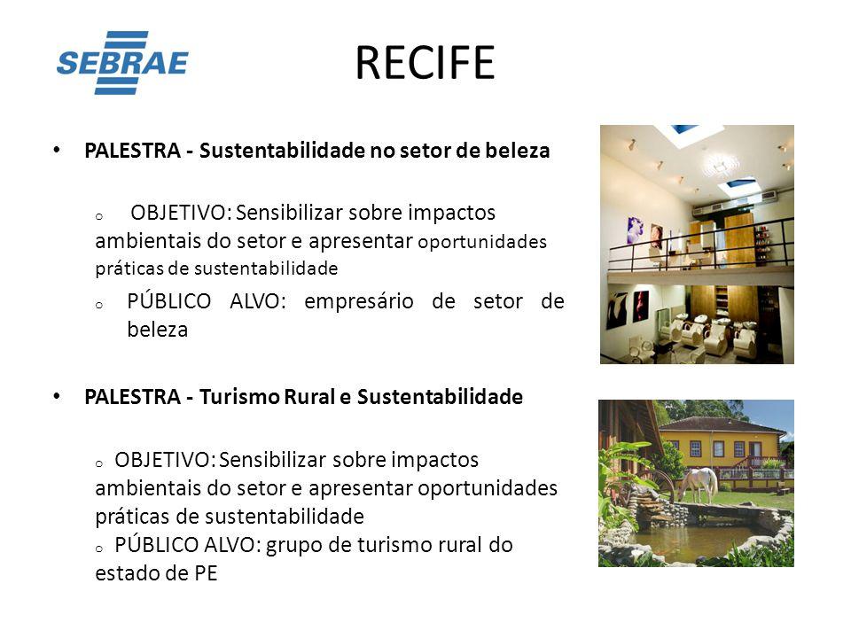 RECIFE PALESTRA - Sustentabilidade no setor de beleza o OBJETIVO: Sensibilizar sobre impactos ambientais do setor e apresentar oportunidades práticas