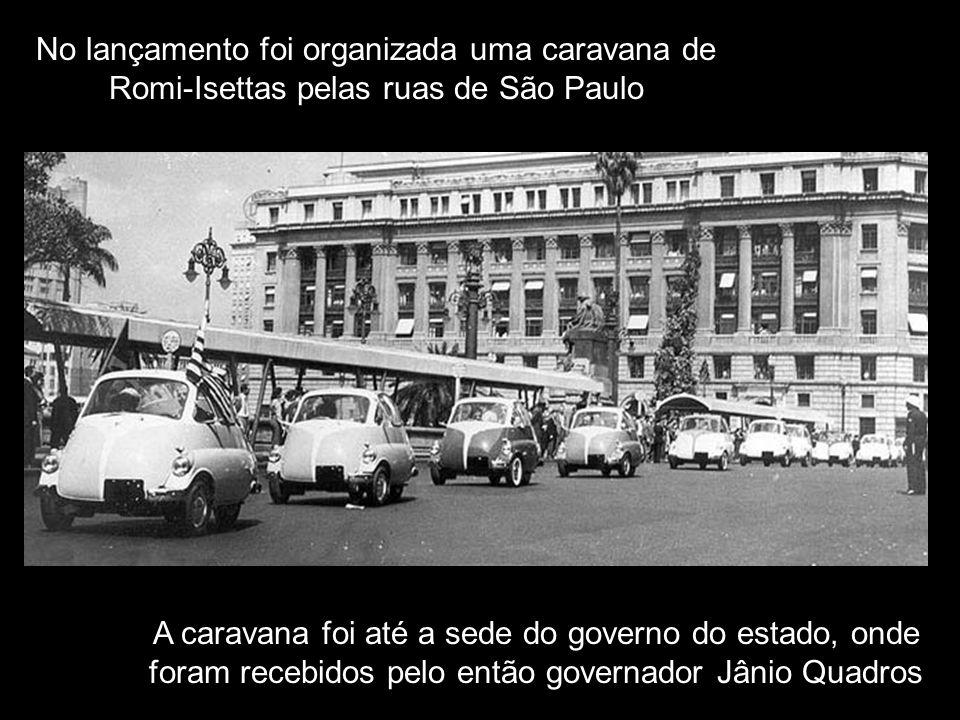 O lançamento em São Paulo foi em junho de 1956 O Cardeal D Carlos Carmelo Motta abençoa o Romi-Isetta