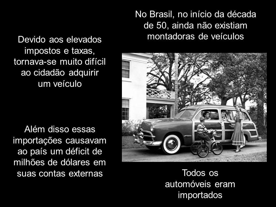 No Brasil, no início da década de 50, ainda não existiam montadoras de veículos Todos os automóveis eram importados Além disso essas importações causavam ao país um déficit de milhões de dólares em suas contas externas Devido aos elevados impostos e taxas, tornava-se muito difícil ao cidadão adquirir um veículo