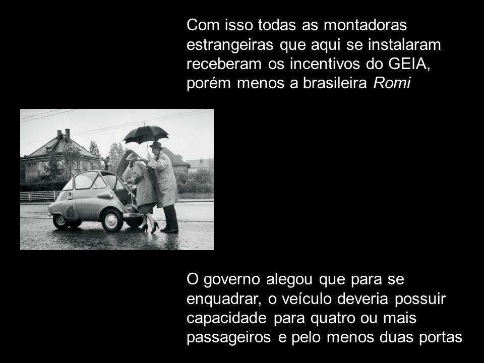 Logo após a sua posse em 1956, visando incentivar a produção nacional, o presidente JK criou o GEIA – Grupo Executivo da Indústria Automobilística Em