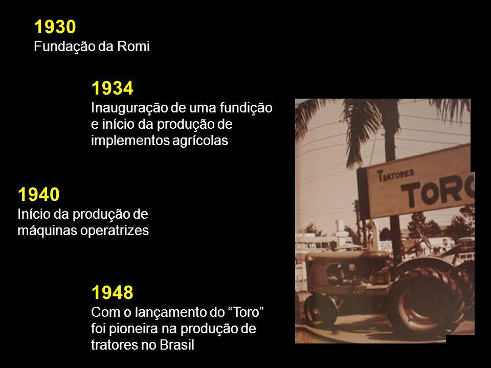 1930 Fundação da Romi 1934 Inauguração de uma fundição e início da produção de implementos agrícolas 1940 Início da produção de máquinas operatrizes 1948 Com o lançamento do Toro foi pioneira na produção de tratores no Brasil