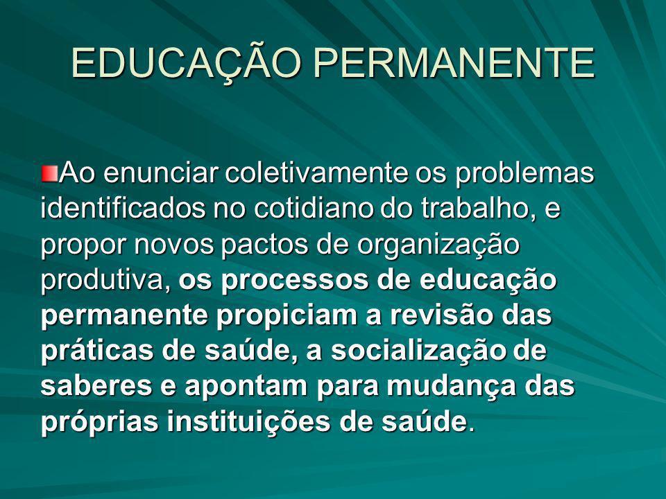 EDUCAÇÃO PERMANENTE Ao enunciar coletivamente os problemas identificados no cotidiano do trabalho, e propor novos pactos de organização produtiva, os