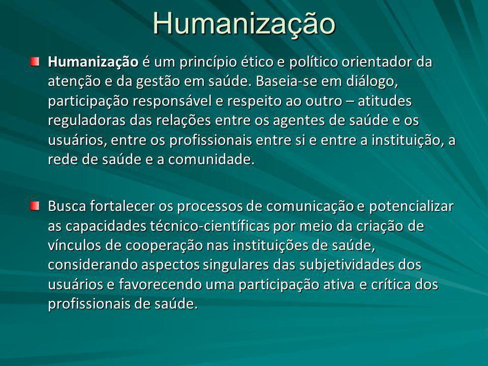 Humanização Humanização é um princípio ético e político orientador da atenção e da gestão em saúde. Baseia-se em diálogo, participação responsável e r