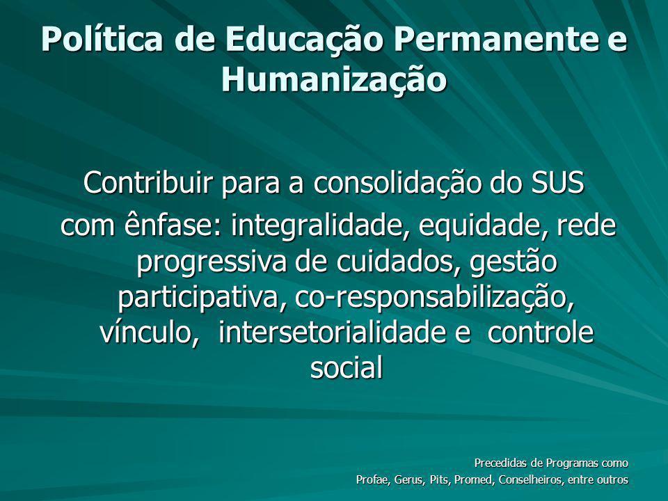 Política de Educação Permanente e Humanização Contribuir para a consolidação do SUS com ênfase: integralidade, equidade, rede progressiva de cuidados,