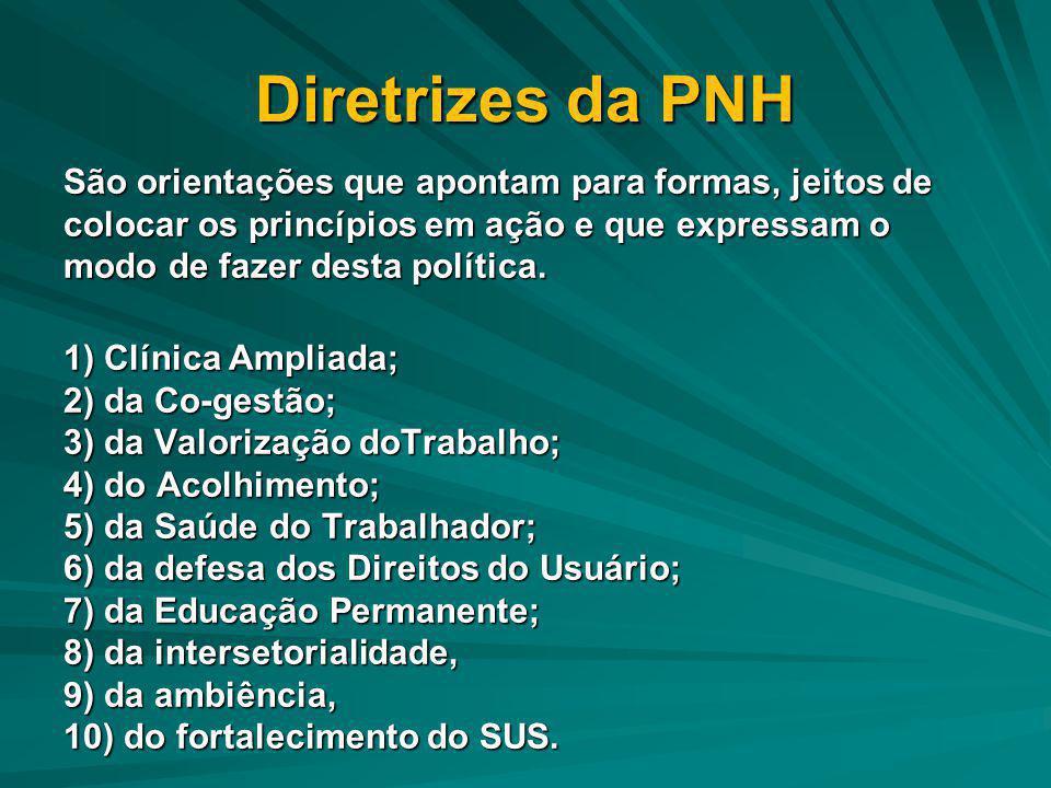 Diretrizes da PNH São orientações que apontam para formas, jeitos de colocar os princípios em ação e que expressam o modo de fazer desta política. 1)