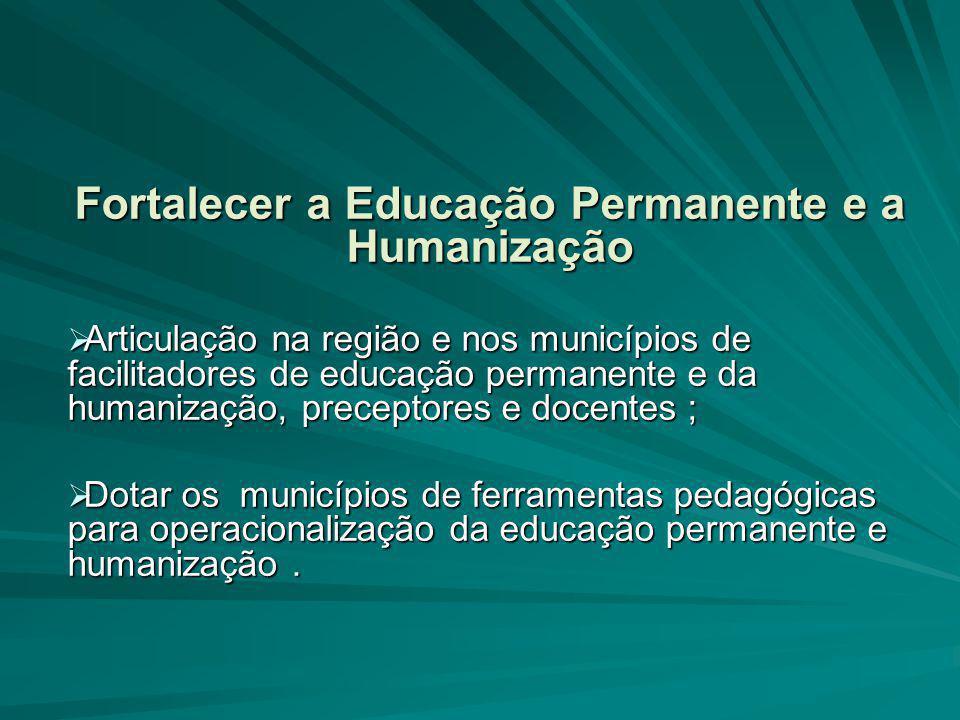 Fortalecer a Educação Permanente e a Humanização  Articulação na região e nos municípios de facilitadores de educação permanente e da humanização, pr