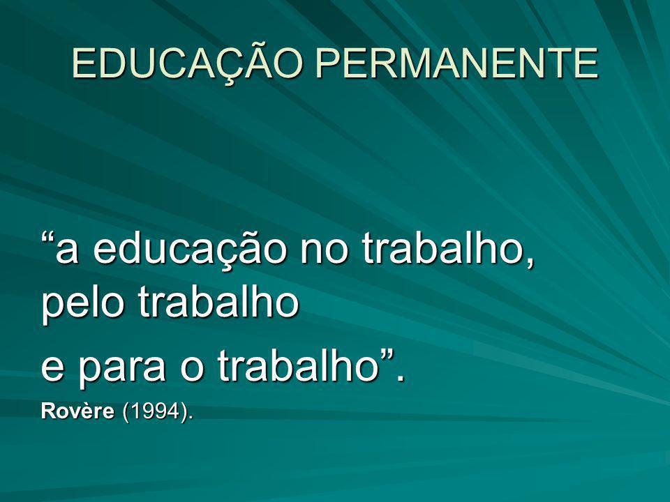 """EDUCAÇÃO PERMANENTE """"a educação no trabalho, pelo trabalho e para o trabalho"""". Rovère (1994)."""