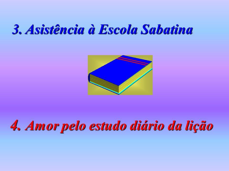 3. Asistência à Escola Sabatina 4. Amor pelo estudo diário da lição