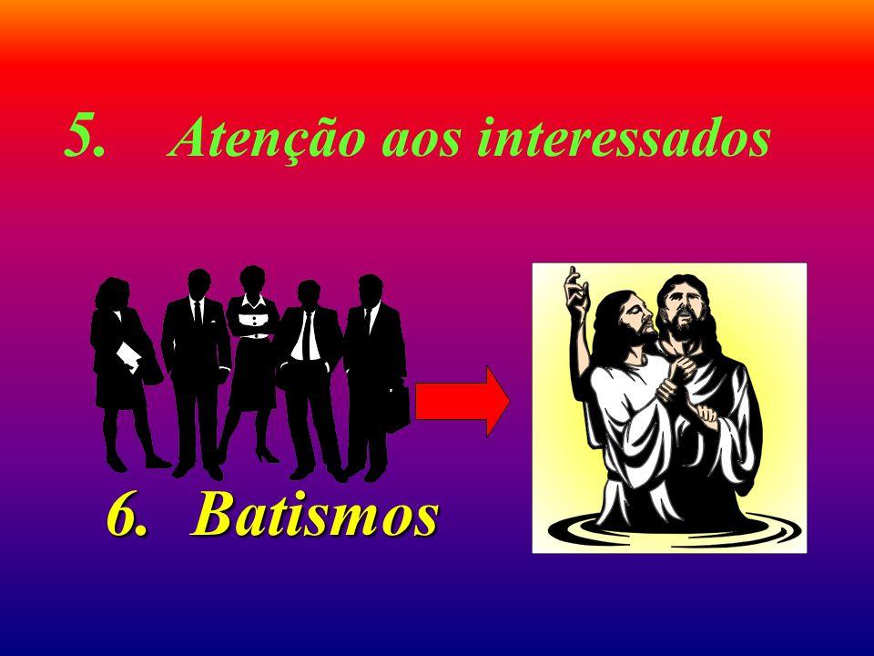 5. Atenção aos interessados 6.Batismos