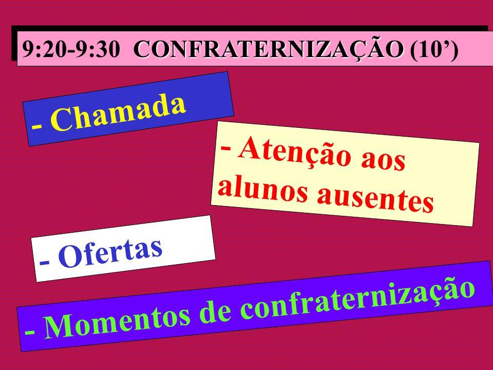 CONFRATERNIZAÇÃO 9:20-9:30 CONFRATERNIZAÇÃO (10') - Chamada - Atenção aos alunos ausentes - Ofertas - Momentos de confraternização