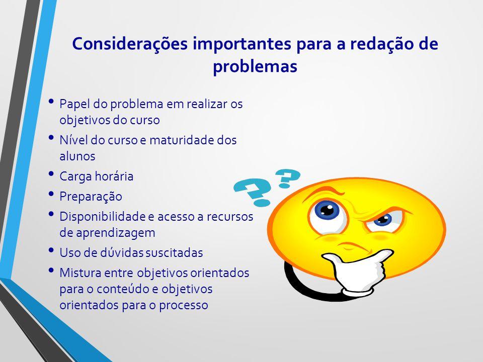 Considerações importantes para a redação de problemas Papel do problema em realizar os objetivos do curso Nível do curso e maturidade dos alunos Carga
