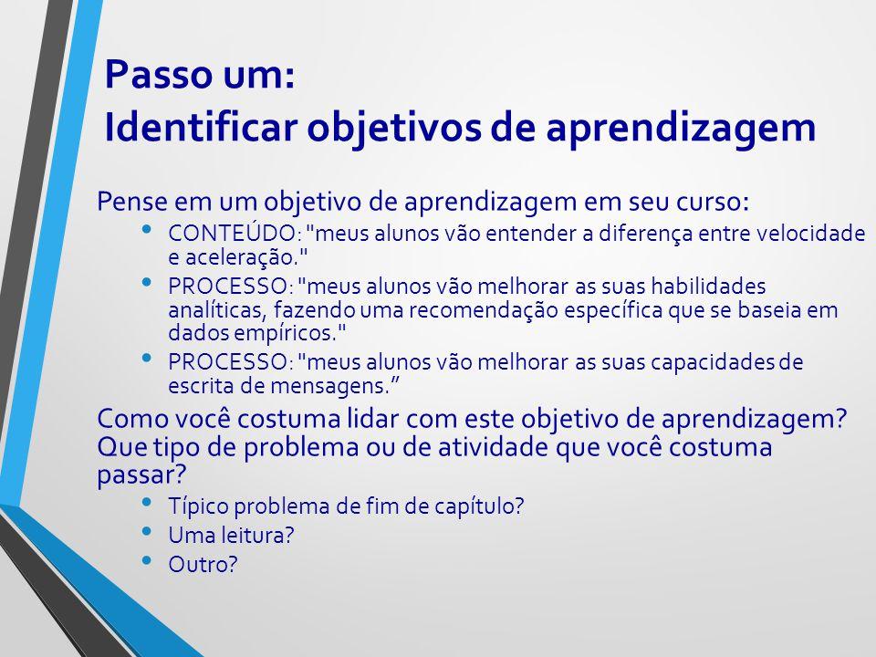 Passo um: Identificar objetivos de aprendizagem Pense em um objetivo de aprendizagem em seu curso : CONTEÚDO: