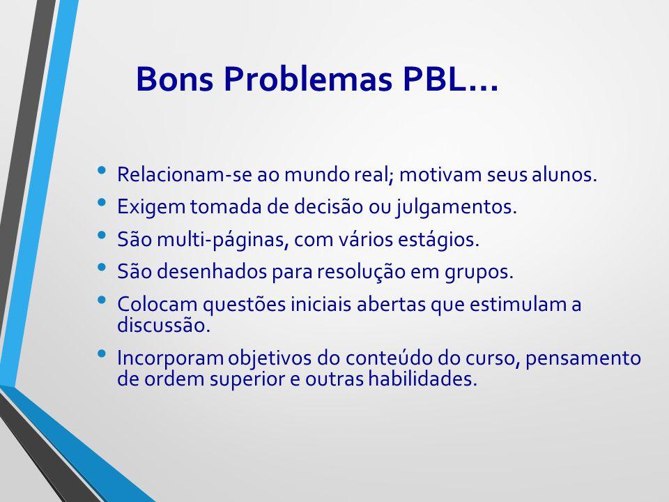 Bons Problemas PBL… Relacionam-se ao mundo real; motivam seus alunos. Exigem tomada de decisão ou julgamentos. São multi-páginas, com vários estágios.