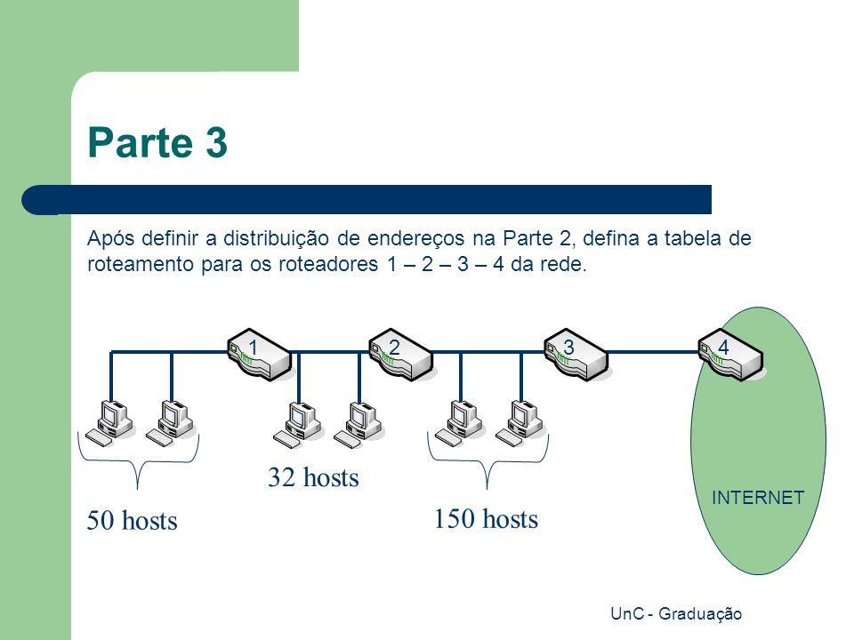 UnC - Graduação Parte 3 Após definir a distribuição de endereços na Parte 2, defina a tabela de roteamento para os roteadores 1 – 2 – 3 – 4 da rede.