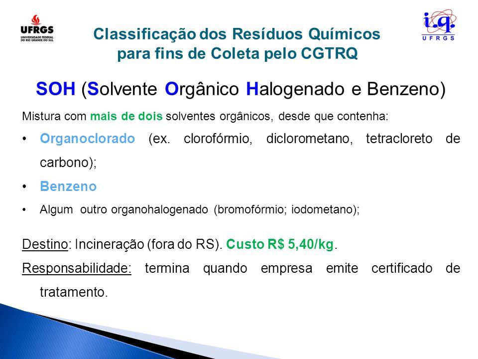 Classificação dos Resíduos Químicos para fins de Coleta pelo CGTRQ SOH (Solvente Orgânico Halogenado e Benzeno) Mistura com mais de dois solventes org