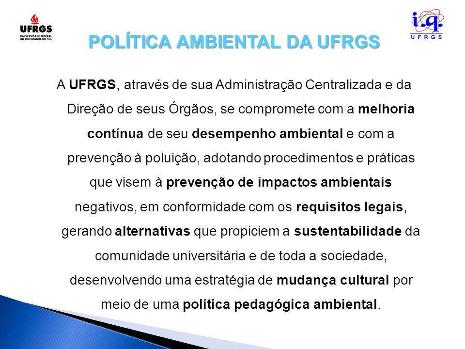 POLÍTICA AMBIENTAL DA UFRGS A UFRGS, através de sua Administração Centralizada e da Direção de seus Órgãos, se compromete com a melhoria contínua de s