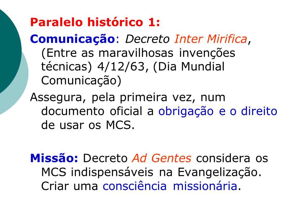 Paralelo histórico 1: Comunicação: Decreto Inter Mirifica, (Entre as maravilhosas invenções técnicas) 4/12/63, (Dia Mundial Comunicação) Assegura, pela primeira vez, num documento oficial a obrigação e o direito de usar os MCS.