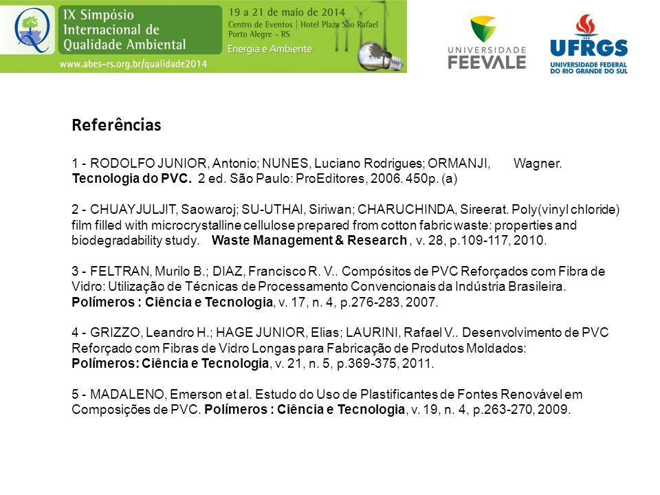 Referências 1 - RODOLFO JUNIOR, Antonio; NUNES, Luciano Rodrigues; ORMANJI, Wagner. Tecnologia do PVC. 2 ed. São Paulo: ProEditores, 2006. 450p. (a) 2