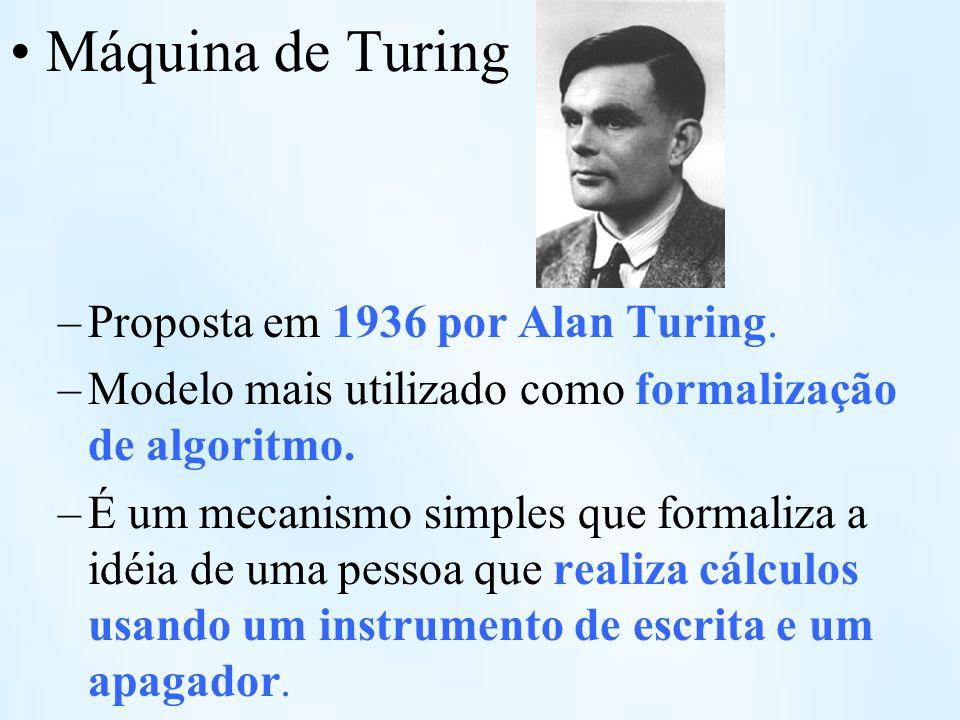 Máquina de Turing –Proposta em 1936 por Alan Turing. –Modelo mais utilizado como formalização de algoritmo. –É um mecanismo simples que formaliza a id