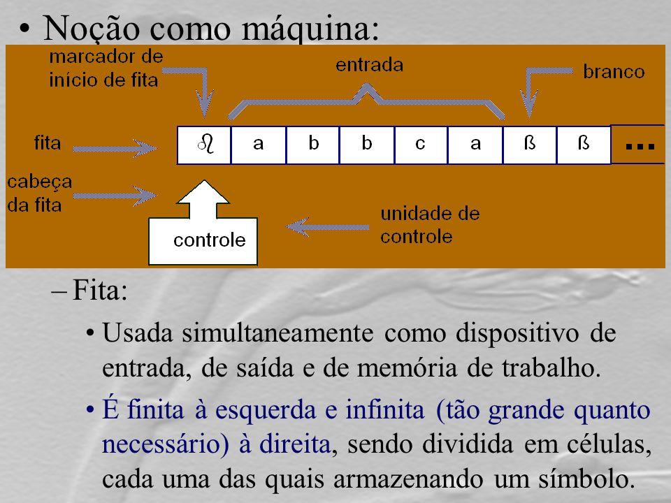 Noção como máquina: –Fita: Usada simultaneamente como dispositivo de entrada, de saída e de memória de trabalho. É finita à esquerda e infinita (tão g