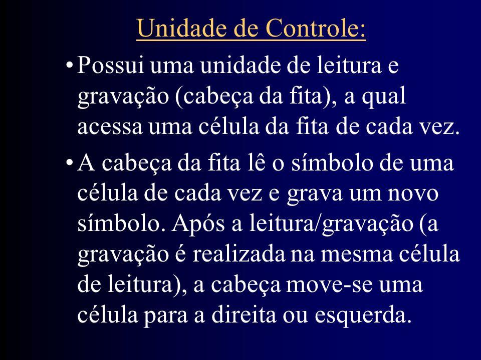 Unidade de Controle: Possui uma unidade de leitura e gravação (cabeça da fita), a qual acessa uma célula da fita de cada vez. A cabeça da fita lê o sí
