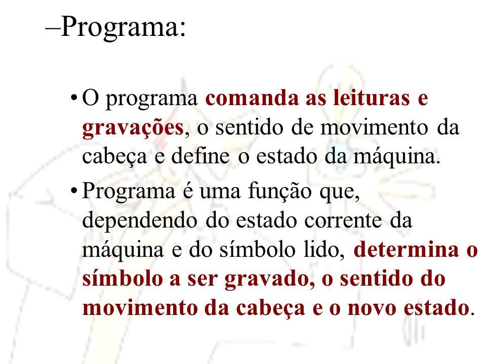 –Programa: O programa comanda as leituras e gravações, o sentido de movimento da cabeça e define o estado da máquina. Programa é uma função que, depen