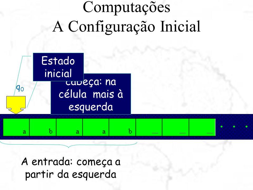 Computações A Configuração Inicial q0q0 cabeça: na célula mais à esquerda A entrada: começa a partir da esquerda Estado inicial