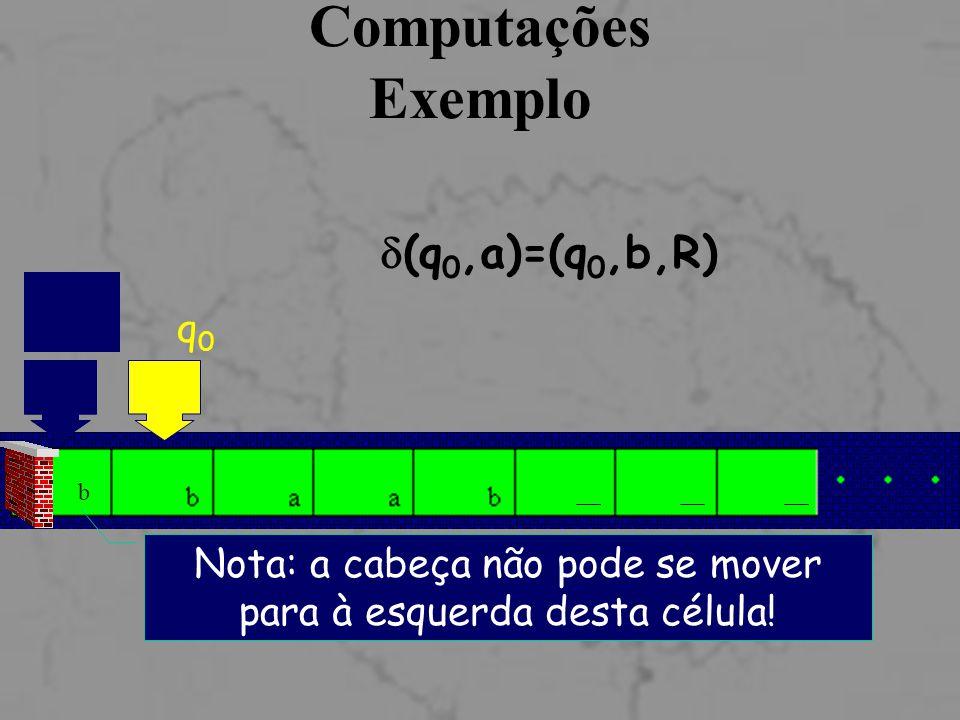 Computações Exemplo q0q0  (q 0,a)=(q 0,b,R) q0q0 b Nota: a cabeça não pode se mover para à esquerda desta célula!