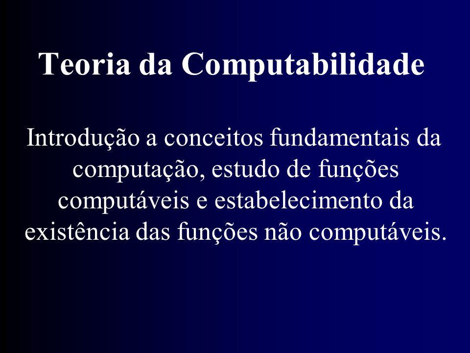 Introdução a conceitos fundamentais da computação, estudo de funções computáveis e estabelecimento da existência das funções não computáveis. Teoria d