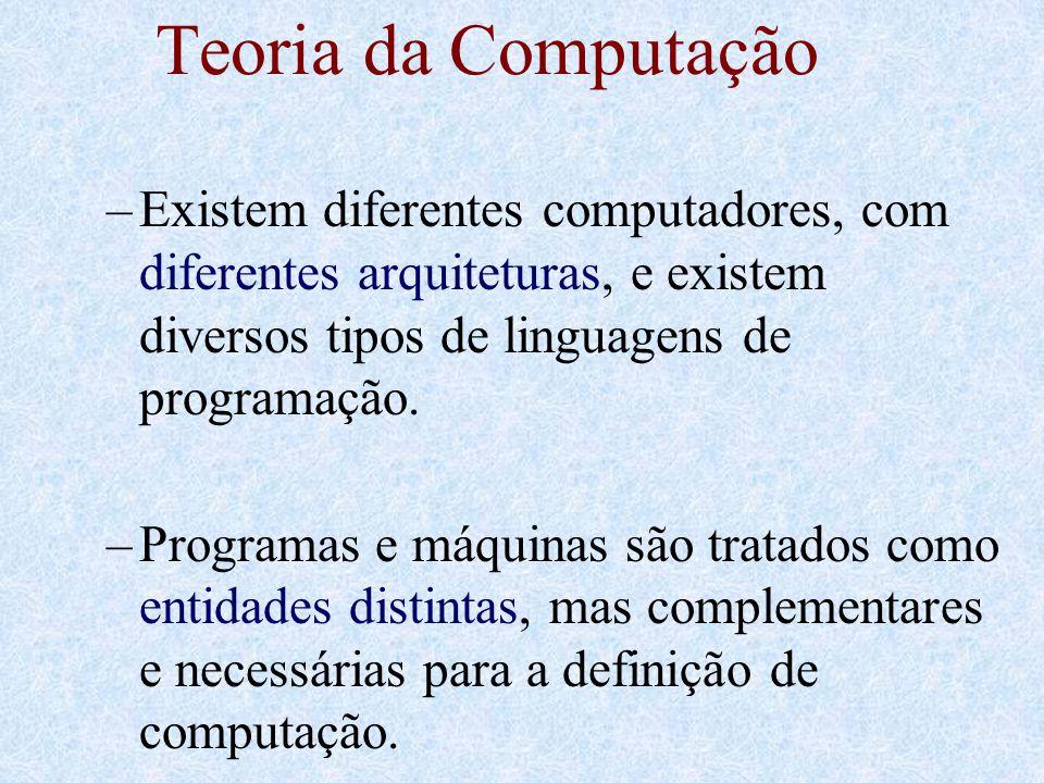 Teoria da Computação –Existem diferentes computadores, com diferentes arquiteturas, e existem diversos tipos de linguagens de programação. –Programas