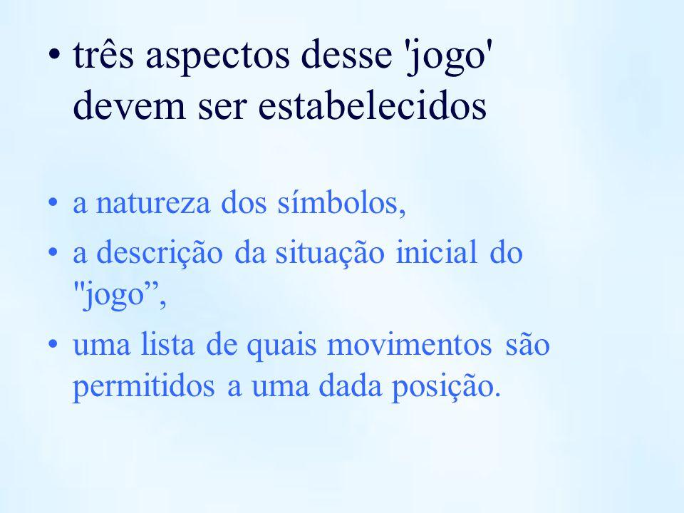 três aspectos desse 'jogo' devem ser estabelecidos a natureza dos símbolos, a descrição da situação inicial do