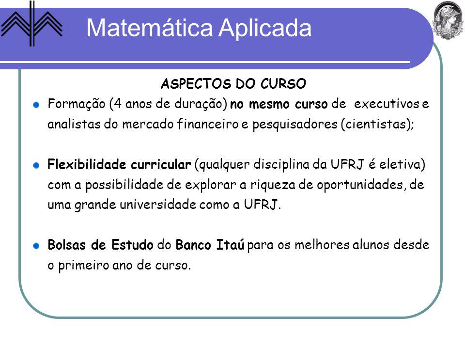 Matemática Aplicada Formação (4 anos de duração) no mesmo curso de executivos e analistas do mercado financeiro e pesquisadores (cientistas); Flexibil