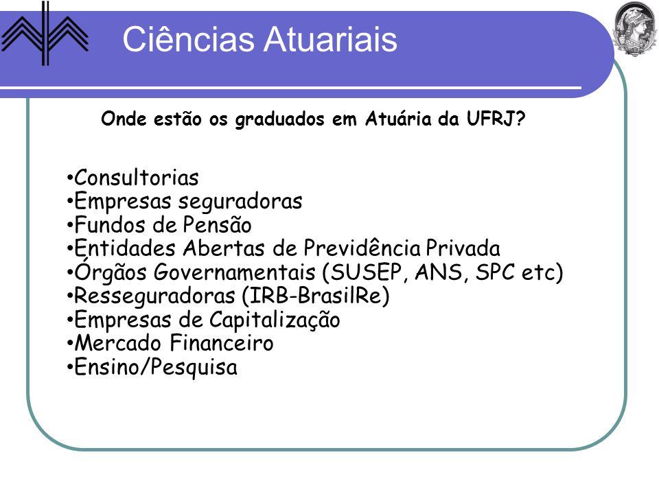 Ciências Atuariais Onde estão os graduados em Atuária da UFRJ? Consultorias Empresas seguradoras Fundos de Pensão Entidades Abertas de Previdência Pri