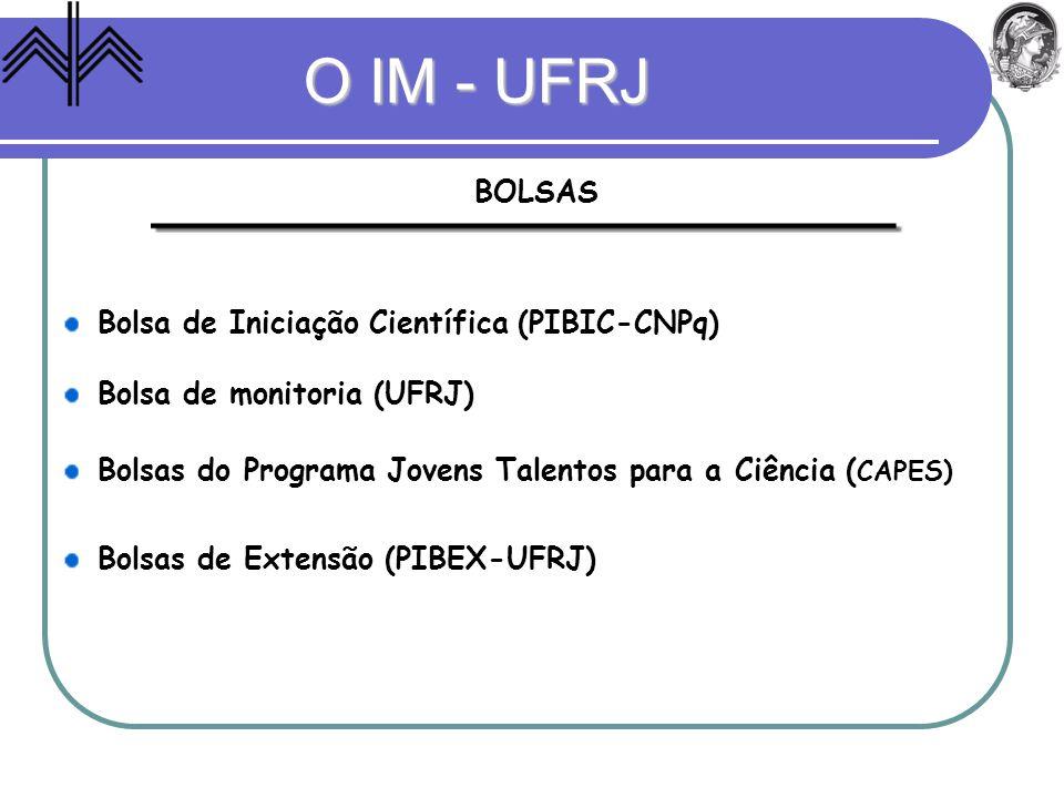 O IM - UFRJ BOLSAS Bolsa de Iniciação Científica (PIBIC-CNPq) Bolsa de monitoria (UFRJ) Bolsas do Programa Jovens Talentos para a Ciência ( CAPES) Bol
