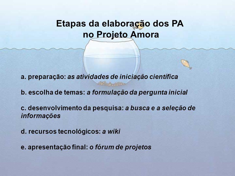 a.preparação: as atividades de iniciação científica b.