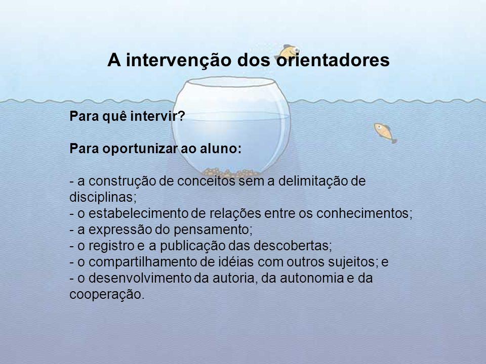 Para quê intervir? Para oportunizar ao aluno: - a construção de conceitos sem a delimitação de disciplinas; - o estabelecimento de relações entre os c