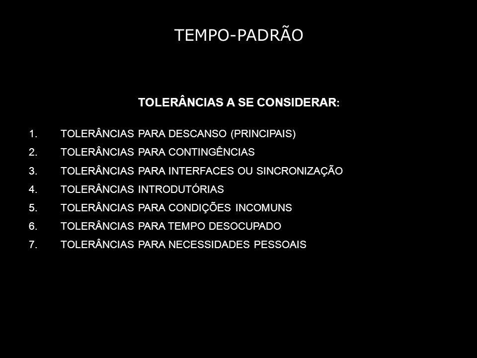 TEMPO-PADRÃO EXEMPLO DE USO DE TOLERÂNCIAS: