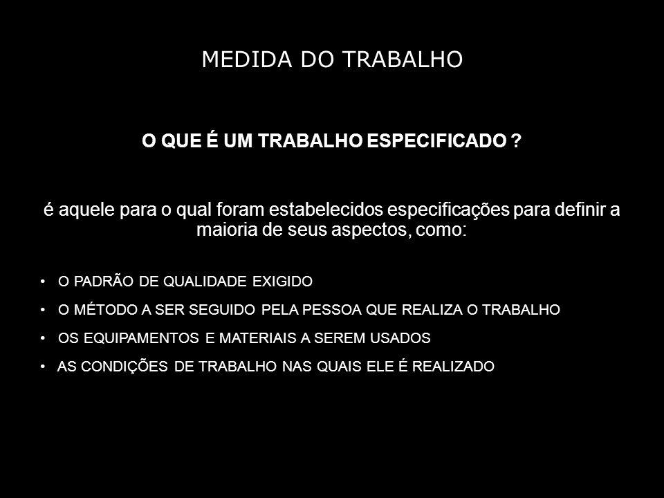MEDIDA DO TRABALHO O QUE É UM TRABALHO ESPECIFICADO .