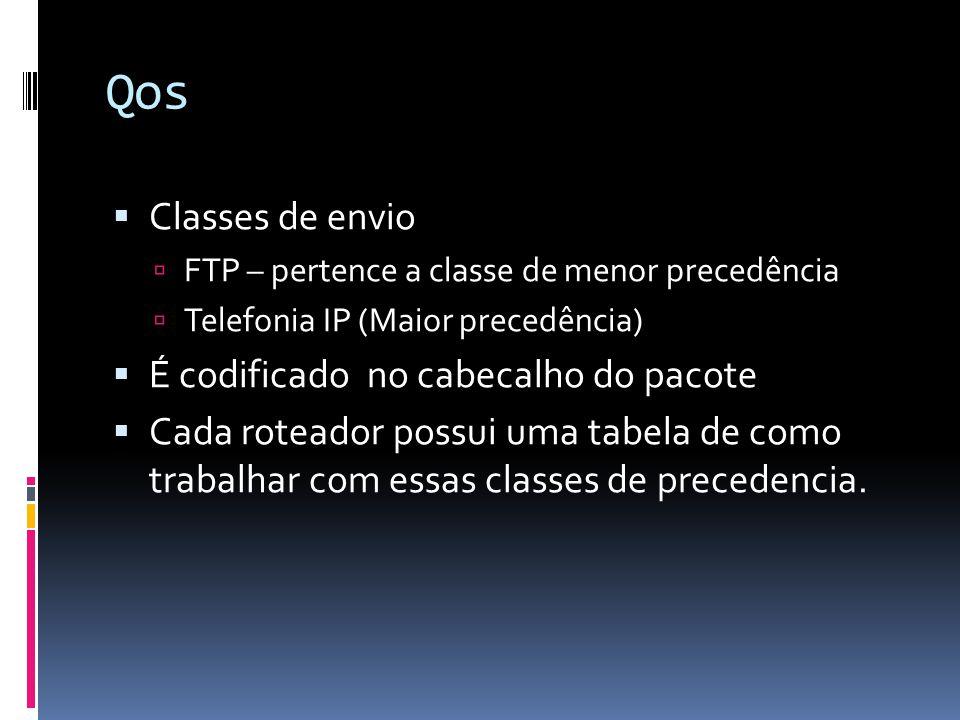 Qos  Classes de envio  FTP – pertence a classe de menor precedência  Telefonia IP (Maior precedência)  É codificado no cabecalho do pacote  Cada roteador possui uma tabela de como trabalhar com essas classes de precedencia.