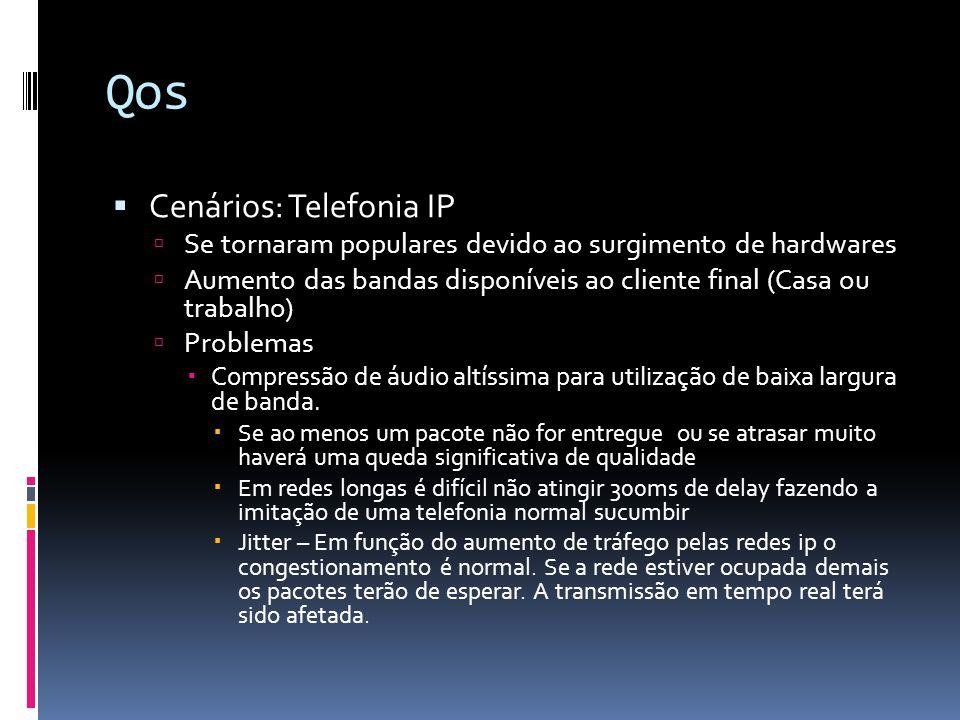 Qos  Cenários: Telefonia IP  Se tornaram populares devido ao surgimento de hardwares  Aumento das bandas disponíveis ao cliente final (Casa ou trabalho)  Problemas  Compressão de áudio altíssima para utilização de baixa largura de banda.