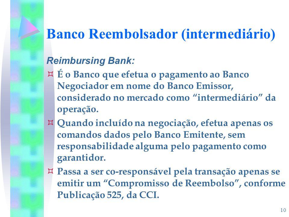 10 Banco Reembolsador (intermediário) Reimbursing Bank:  É o Banco que efetua o pagamento ao Banco Negociador em nome do Banco Emissor, considerado n