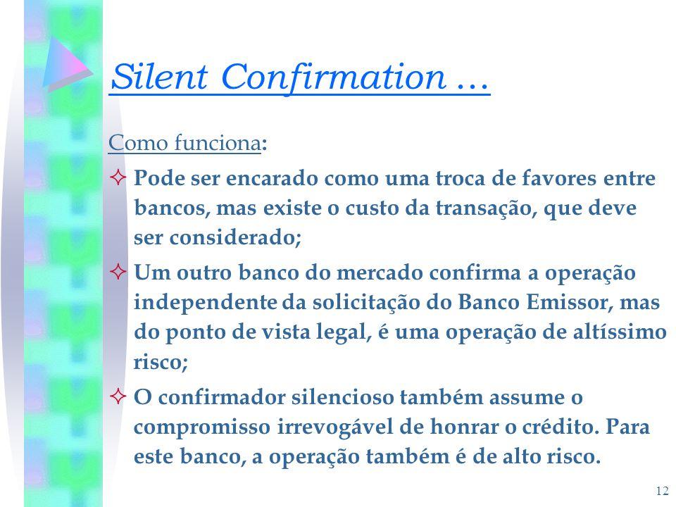 12 Silent Confirmation... Como funciona :  Pode ser encarado como uma troca de favores entre bancos, mas existe o custo da transação, que deve ser co