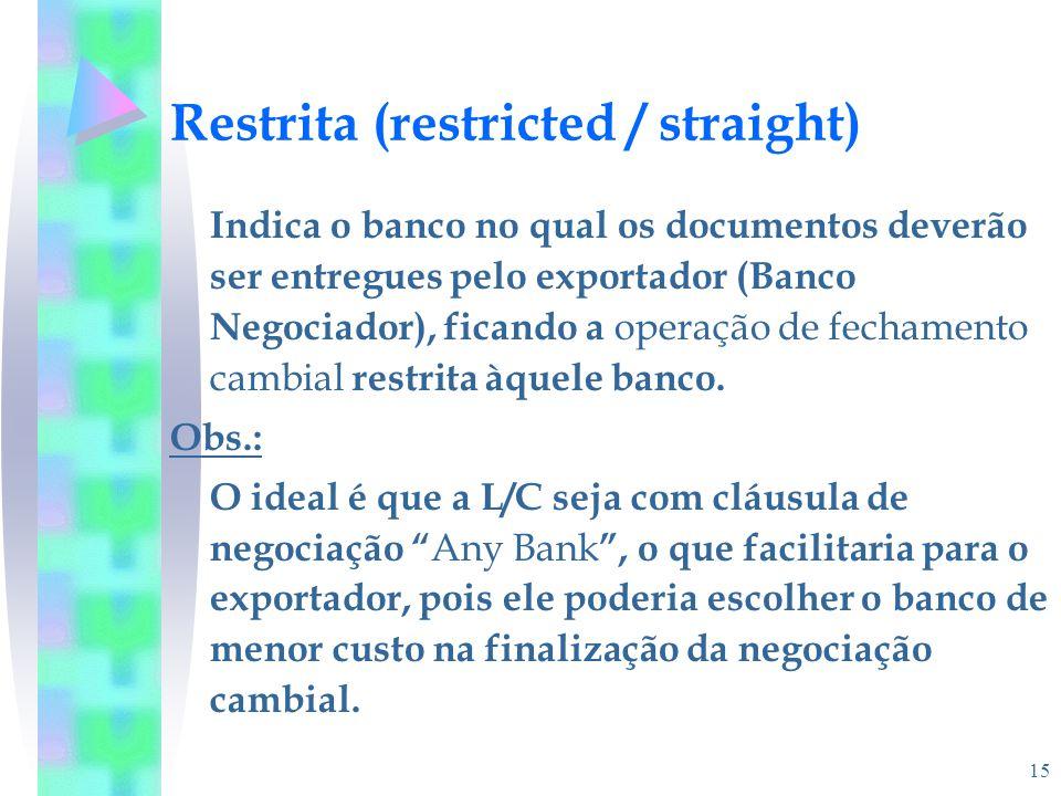 15 Restrita (restricted / straight) Indica o banco no qual os documentos deverão ser entregues pelo exportador (Banco Negociador), ficando a operação