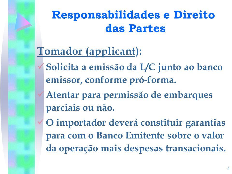 4 Responsabilidades e Direito das Partes Tomador (applicant): Solicita a emissão da L/C junto ao banco emissor, conforme pró-forma. Atentar para permi