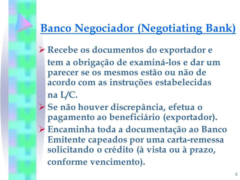 8 Banco Negociador (Negotiating Bank)  Recebe os documentos do exportador e tem a obrigação de examiná-los e dar um parecer se os mesmos estão ou não