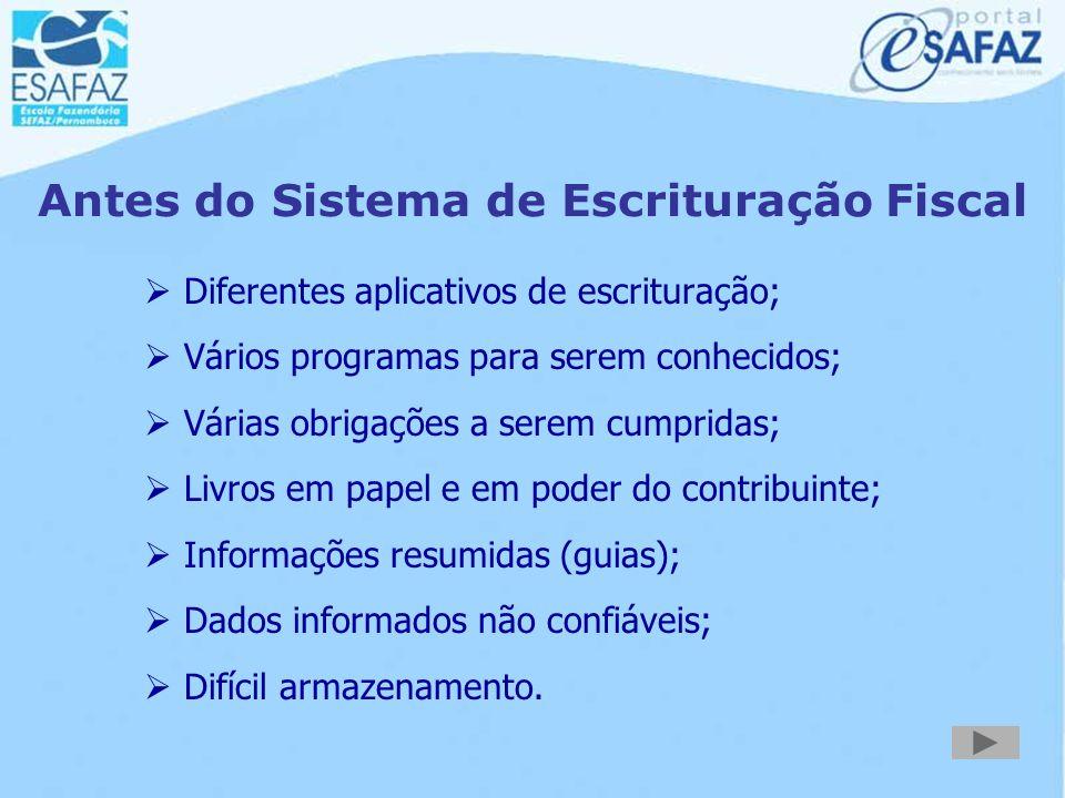 Principais Características Propicia a elaboração e a visualização de:  Livros fiscais do ICMS;  GIAM - informações mensais;  GIAF - informações sob