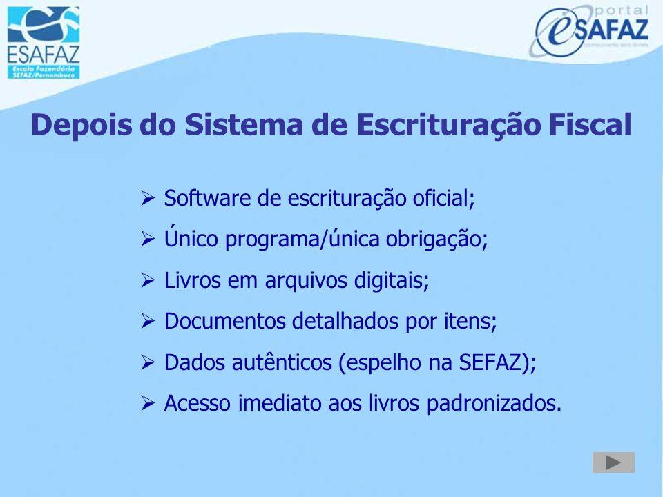 Antes do Sistema de Escrituração Fiscal  Diferentes aplicativos de escrituração;  Vários programas para serem conhecidos;  Várias obrigações a sere